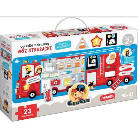 Gra Edukacyjna Puzzle z dziurką Wóz strażacki
