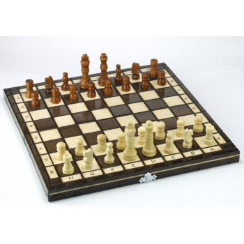 Szachy drewniane klasyczne 31 cm ABINO