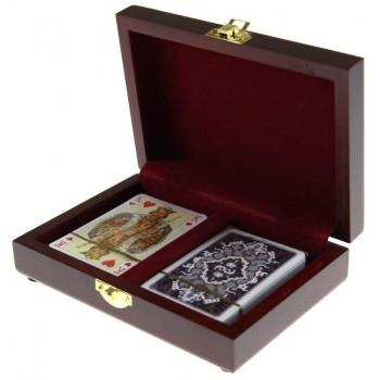 Karty lux w pudełku drewnianym PIATNIK