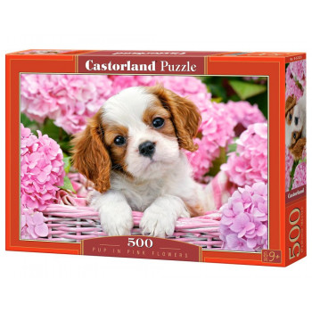 Puzzle 500 Pup in Pink Flowers CASTOR