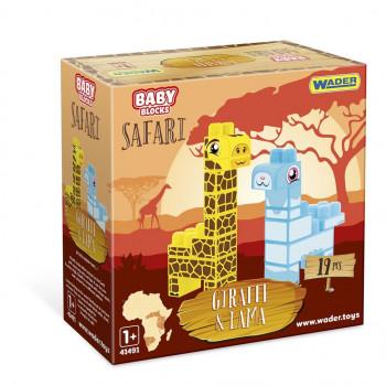 Baby Blocks Safari żyrafa i lama 19 elementów