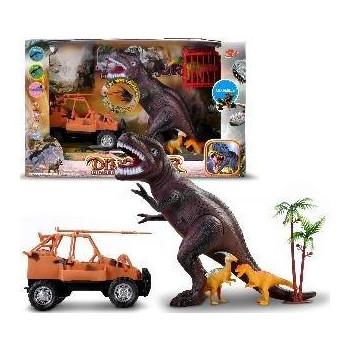 Zestaw dinozaurów z samochodem